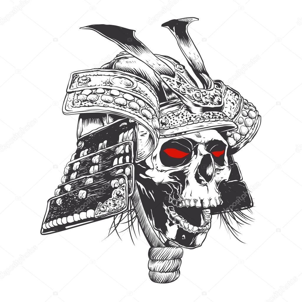 zwart wit samurai helm met schedel stockvector. Black Bedroom Furniture Sets. Home Design Ideas