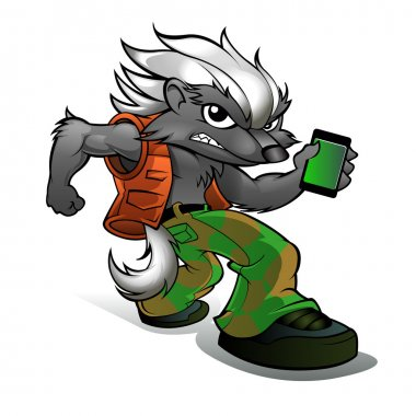 honey Badger Cartoon with cell phone