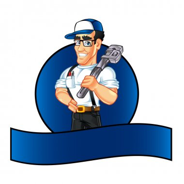 Handyman plumber cartoon character holding a huge wrench
