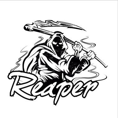 Hand Inked Grim Reaper Illustration
