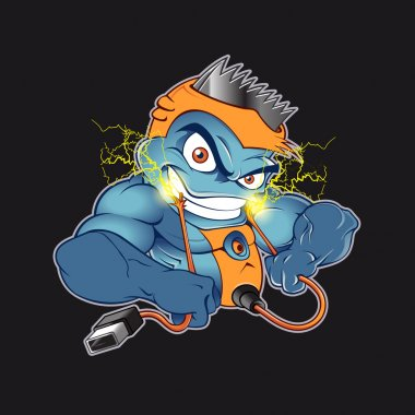 Angry Shaver Cartoon Electric Shock