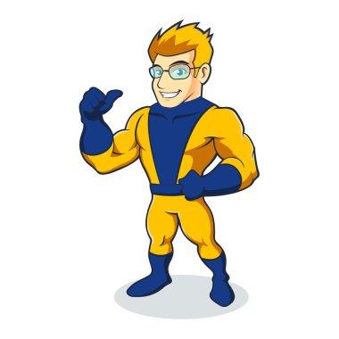 Illustration of Super Hero yellow blue