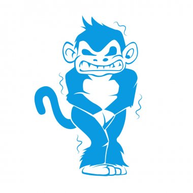 Blue monkey with a cold