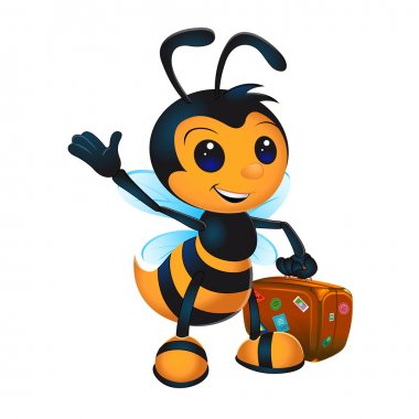 Cute cartoon bee with suitcase