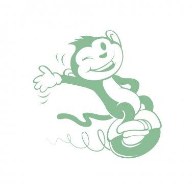 Cartoon monkey on electric vehicle of a wheel