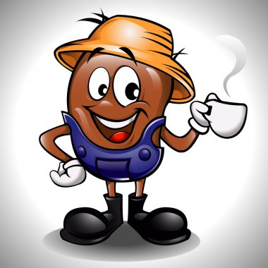 Farmer coffee bean cartoon with cup
