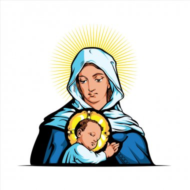 Vector illustration of Mother Mary with Jesus Christ