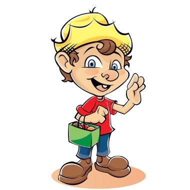 Cartoon Farmer Character with bag
