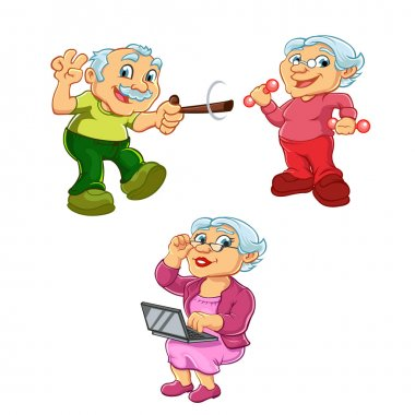 Funny illustration of old woman old man cartoon character