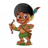 Fotografie Beispiel für eine harte Kid indische mit Bogen in Händen