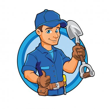 Cartoon plumber holding a big shovel.