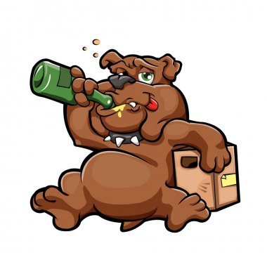 illustration of cartoon drunk dog with alcohol bottle in relaxing concept