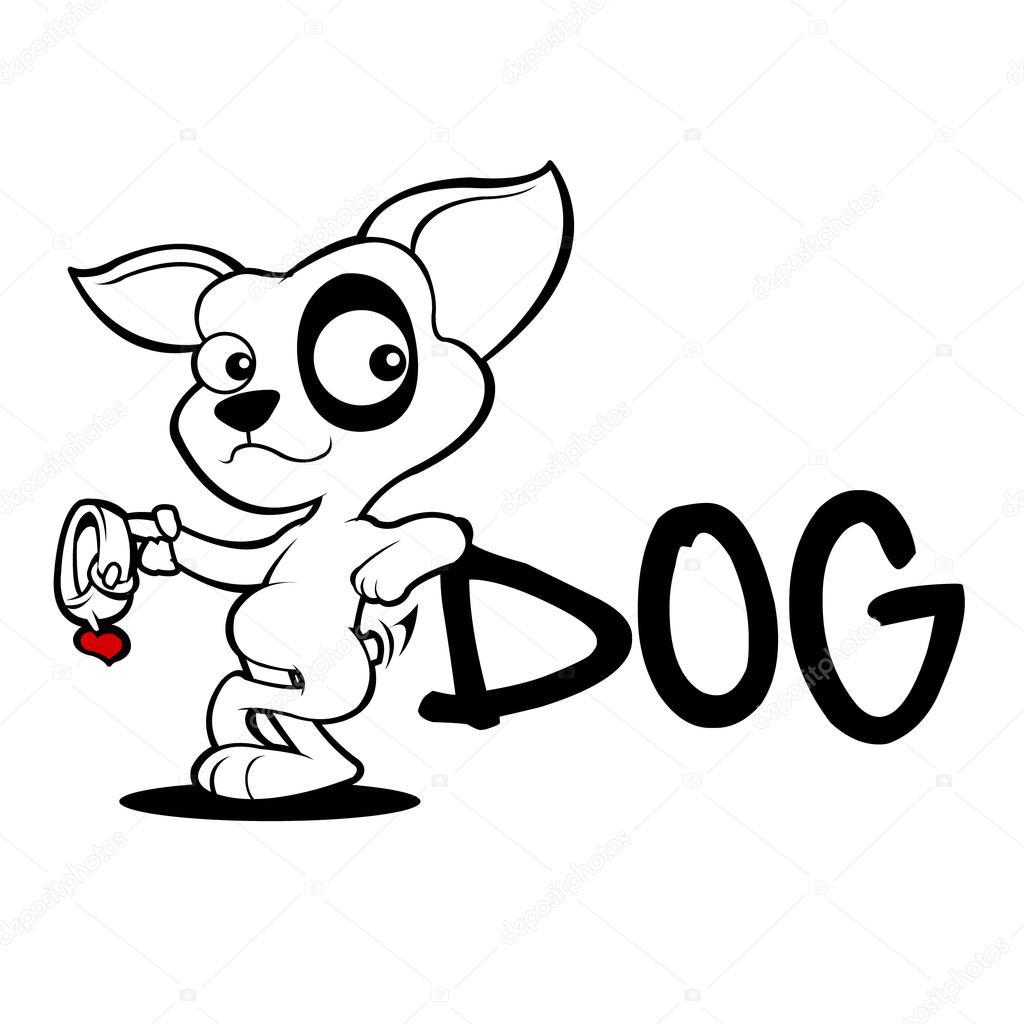 Croquis D Adoption Chien Mignon Dessin Anime Image Vectorielle