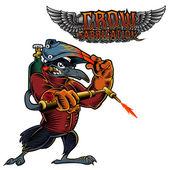 Kreslený maskot obrázek havrana, Crow nebo černá Bird.Illustration svářečka vrána svařování a text