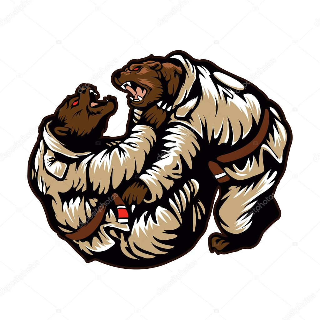 two bears fighting. karate bear ⬇ vector image by © milesthone | vector  stock 85217250  depositphotos