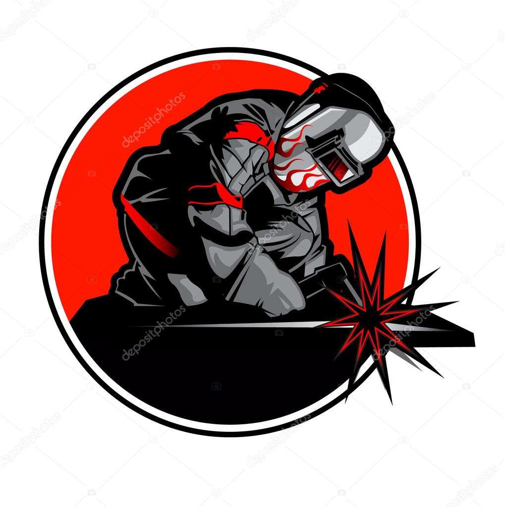 Welder Working In The Mask In The Weld Metal Sparks Stock Vector C Milesthone 87084202