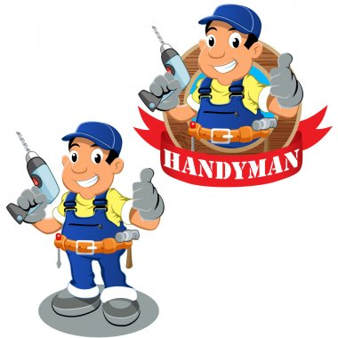 Handyman worker with drilling machine in the hand