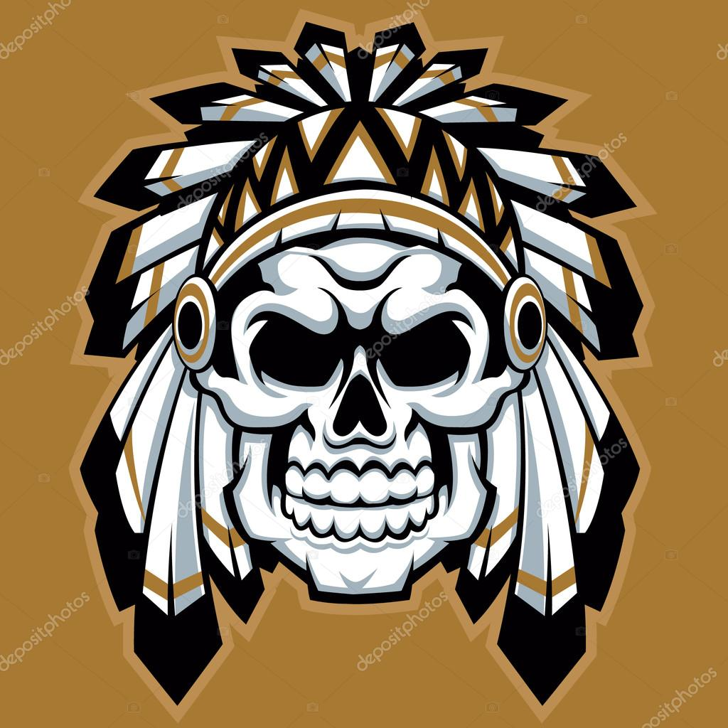 Skull indian chief with feather hat — Stock Vector © Milesthone