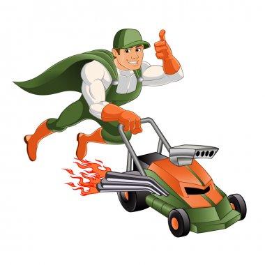Handyman lawn mower,Hero handyman ,Cartoon superhero