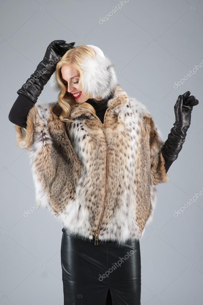 Leder pelz mantel