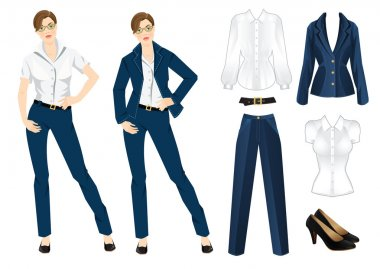 Vector illustration of corporate dress code. Office uniform. Clothes for women. Business woman or professor in official blue formal suit. Woman in glasses. stock vector