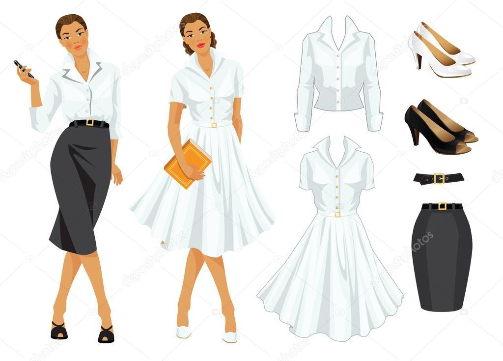 Frau in formelle Kleidung und Frau im eleganten weißen Kleid ...