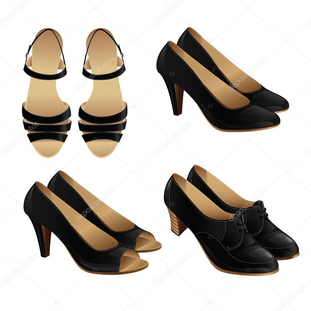 7c263957 Ilustración de vector de estilo clásico zapato. Conjunto de zapatos de  cuero negro de mujer. Par de zapatos formales negros para mujer de negocios  — Vector ...
