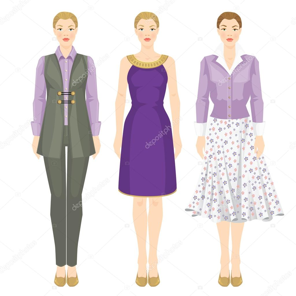Women In Clothes Of Lavender And Violet Color Stock Vector