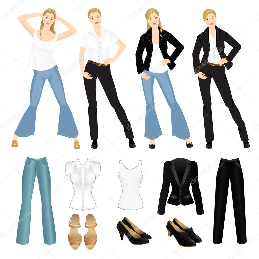3e16856c4c Vector illustration of different look with black suit, blue jeans and white  shirt. Girls in casual and formal style of clothes. Various hairstyle.