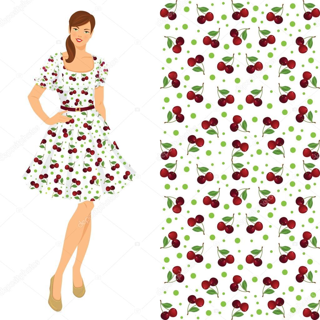 Brunette Girl In Elegant Dress With Flower Pattern Stock Vector