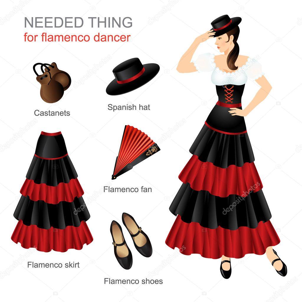 c19ce317ad Coisa necessária para dançarina de flamenco. Mulher fantasiada de  espanhola. As mulheres vestem chapéu na cabeça. Saia de flamenco