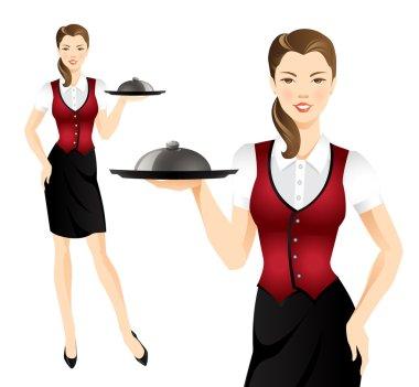 Waitress with tray.