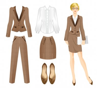 Business girl or professor in official suit.