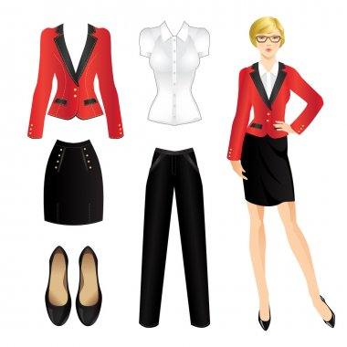 Uniform clothes. Woman in eyeglass