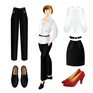 Set of clothes and woman in black pants and white blouse.