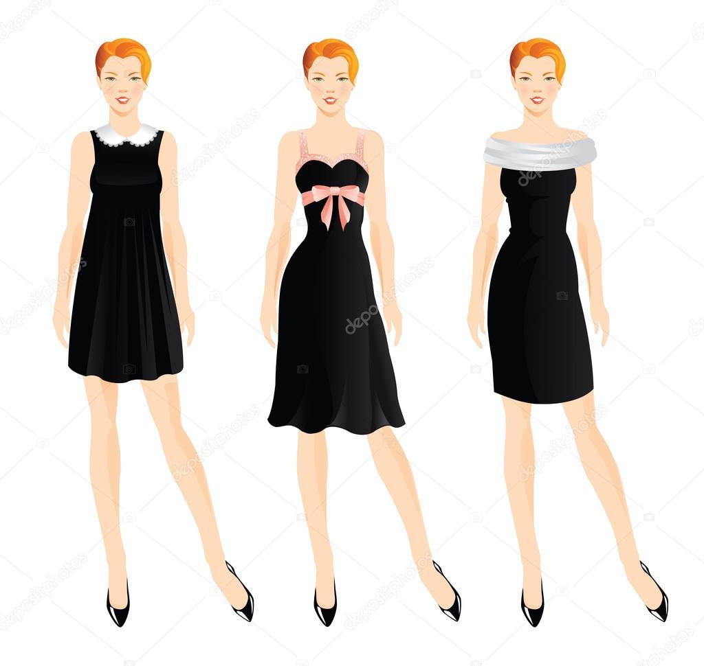 Set von Girl in kleine schwarze Kleid — Stockvektor © Joycolor #89671752