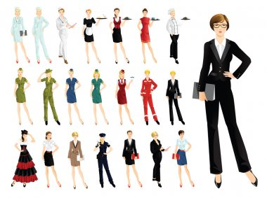Set of professional woman isolated on white background.