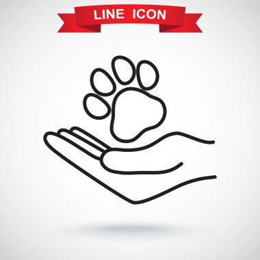 human hand with animal paw icon