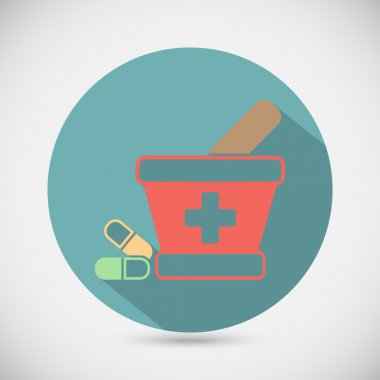 mortar with pestle and pills icon