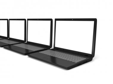 3d laptops.  notebooks with a blank screens isolated on white background
