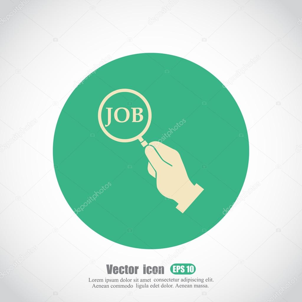 Job Word In Magnifying Glass Icon Stock Vector Victory Stoker