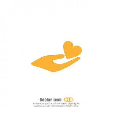 Human hand holding heart icon clip art vector