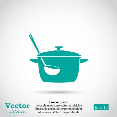 cooking pot and ladle icon