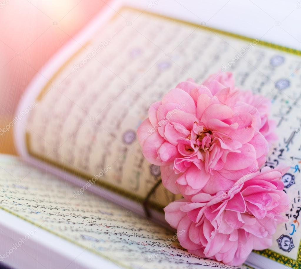 Quran And Rose Stock Photo C Aiscream 108116826