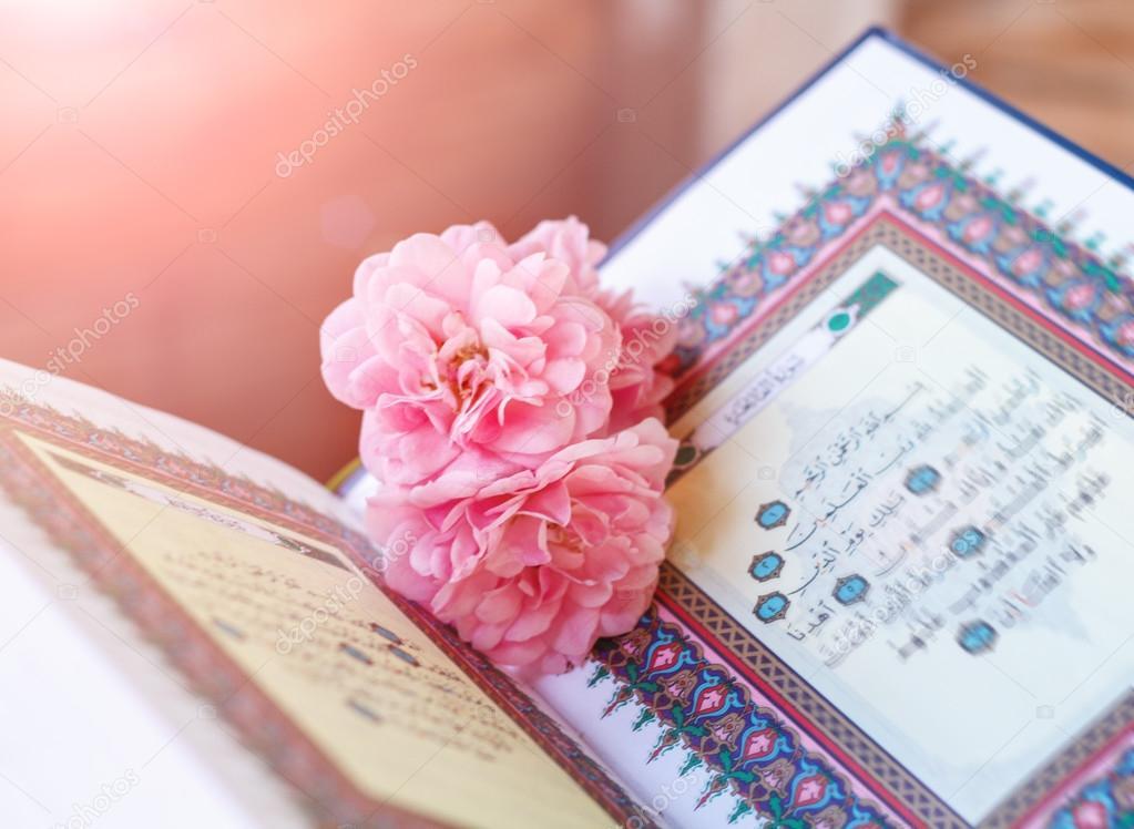 Quran And Rose Stock Photo C Aiscream 108116828