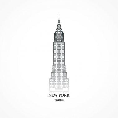 Outline New York Skyscraper Icon for Design