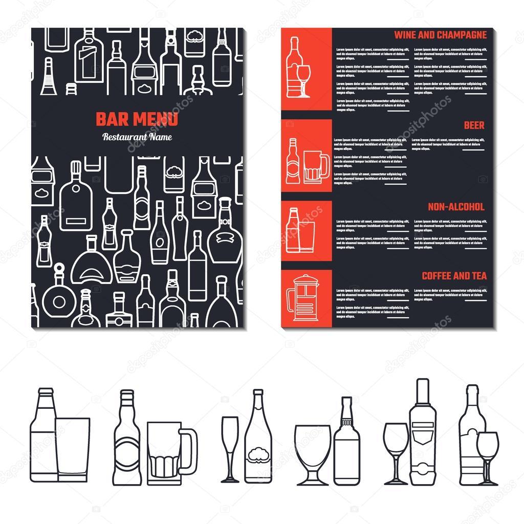 Drinks Menu Template Stock Vector Katyr - Beverage menu template