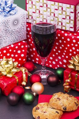 Christmas Parcels,  Red Wine and Christmas Cookies