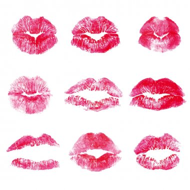 Red lips kisses prints elements