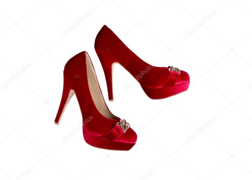 Illustration isoliert roten frauen schuhe auf den high heels